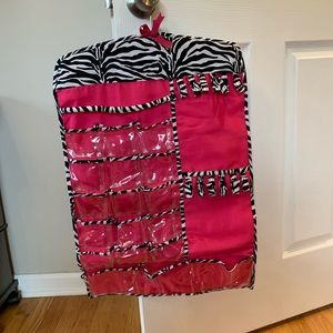 Handbags - Pink and Zebra Print Hanging Jewelry Organizer